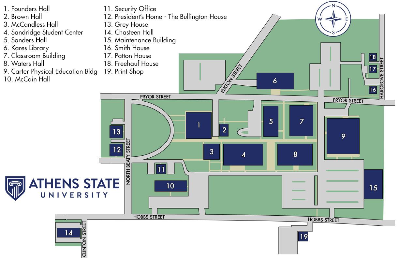 Athens State University campus map